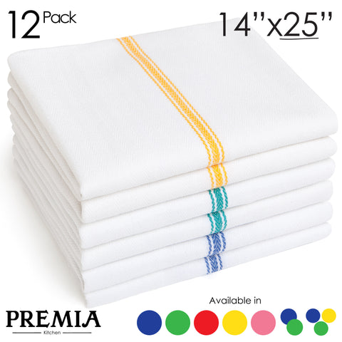 "12 Dish Towels - Commercial Kitchen Towels - Cotton (14""x25"") - Classic Tea Towels in 3 Colors"