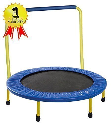"Portable & Foldable Trampoline - 36"" diameter. with handle bar (Yellow)"