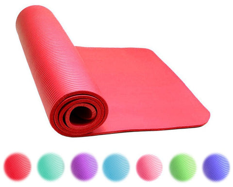 Thick Exercise Yoga Floor Mat Nbr 24 X 71 Inches Great for Camping Cardio Workouts Pilates Gymnastics With Carrying Strap Included