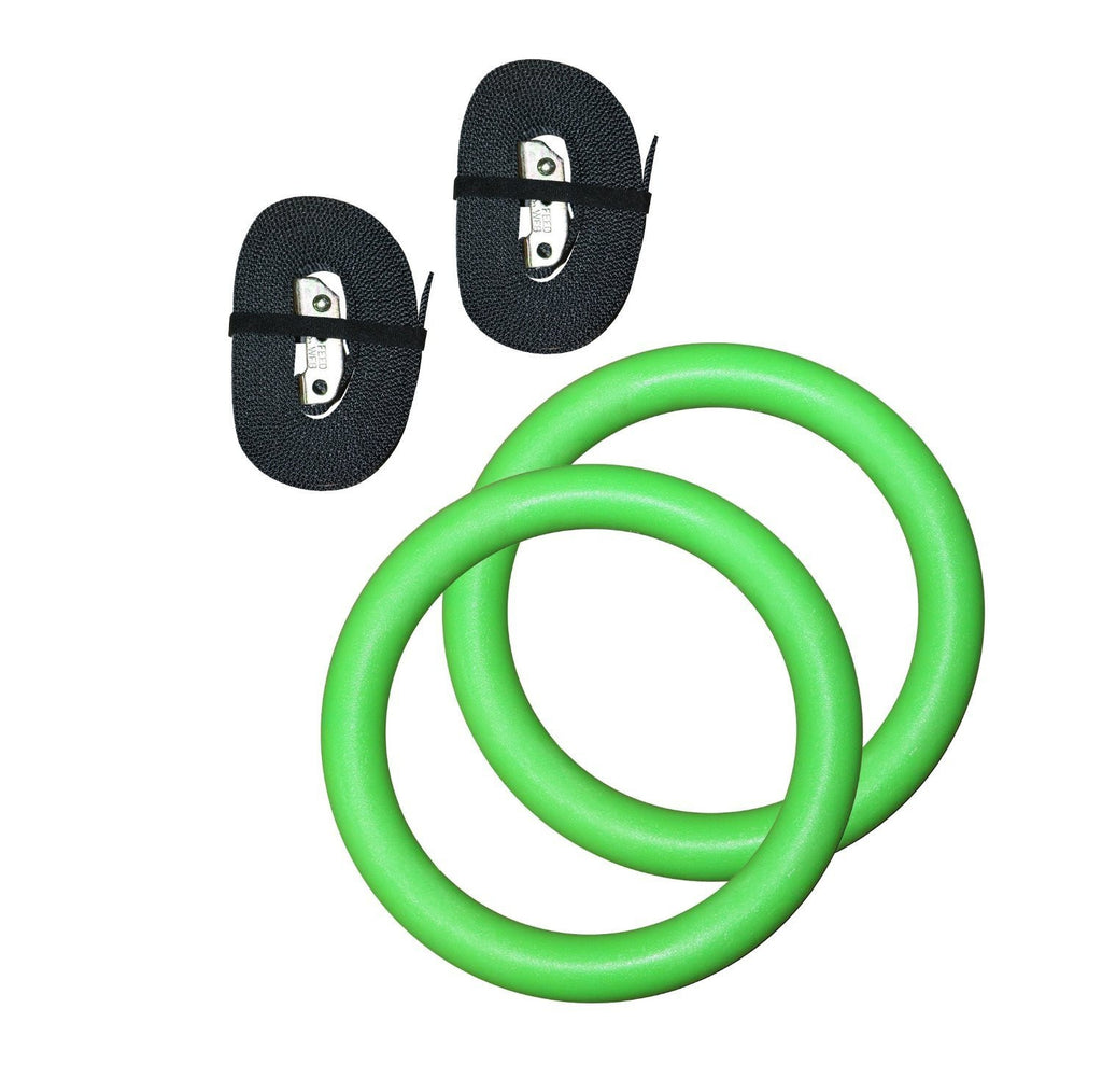 Gymenist Pair of Gymnastics Gym Rings With EXTRA WIDE Straps Set of 2 Workout Exercise Hoops with Bands and Adjustable Buckles