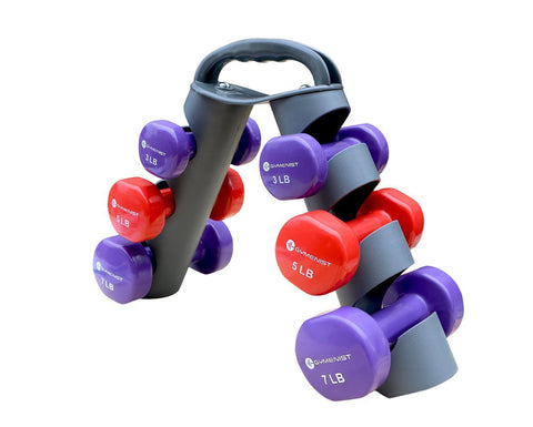 GYMENIST Dumbbell Set of 6 Total Dumbbells With Foldable Rack That Can Stand For Display or Folded For Travel And Storage These Weights (Set Includes 3 Pairs)