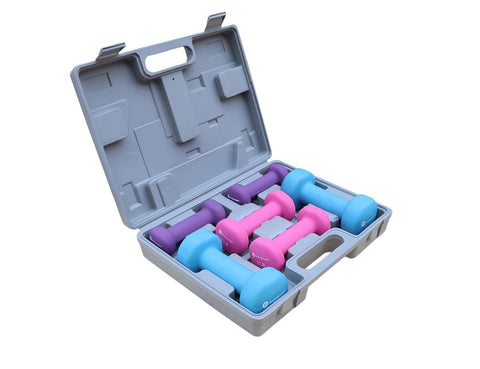 Gymenist Dumbbell Set With Hard Plastic Case Includes 3 Pairs And A Hard Travel Carry Storage Case (1LB - 2LB - 4LB)
