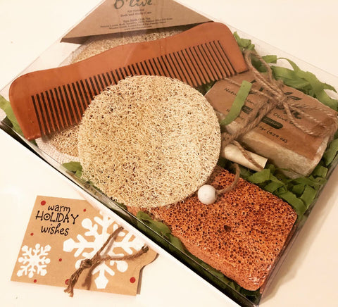 O'live Spa Bath Gift Set - Deluxe With Silk Scrubber