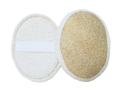All Natural Loofah Skin Exfoliating Body Back Scrubber with Strings (With handle) by O'live