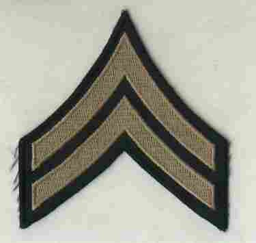 Chevrons, Rank, Khaki, Corporal, Army