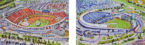 """Chiefs at Arrowhead/Royals at the K"" Double Image"