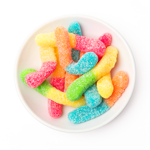 sour neon mini gummy worms