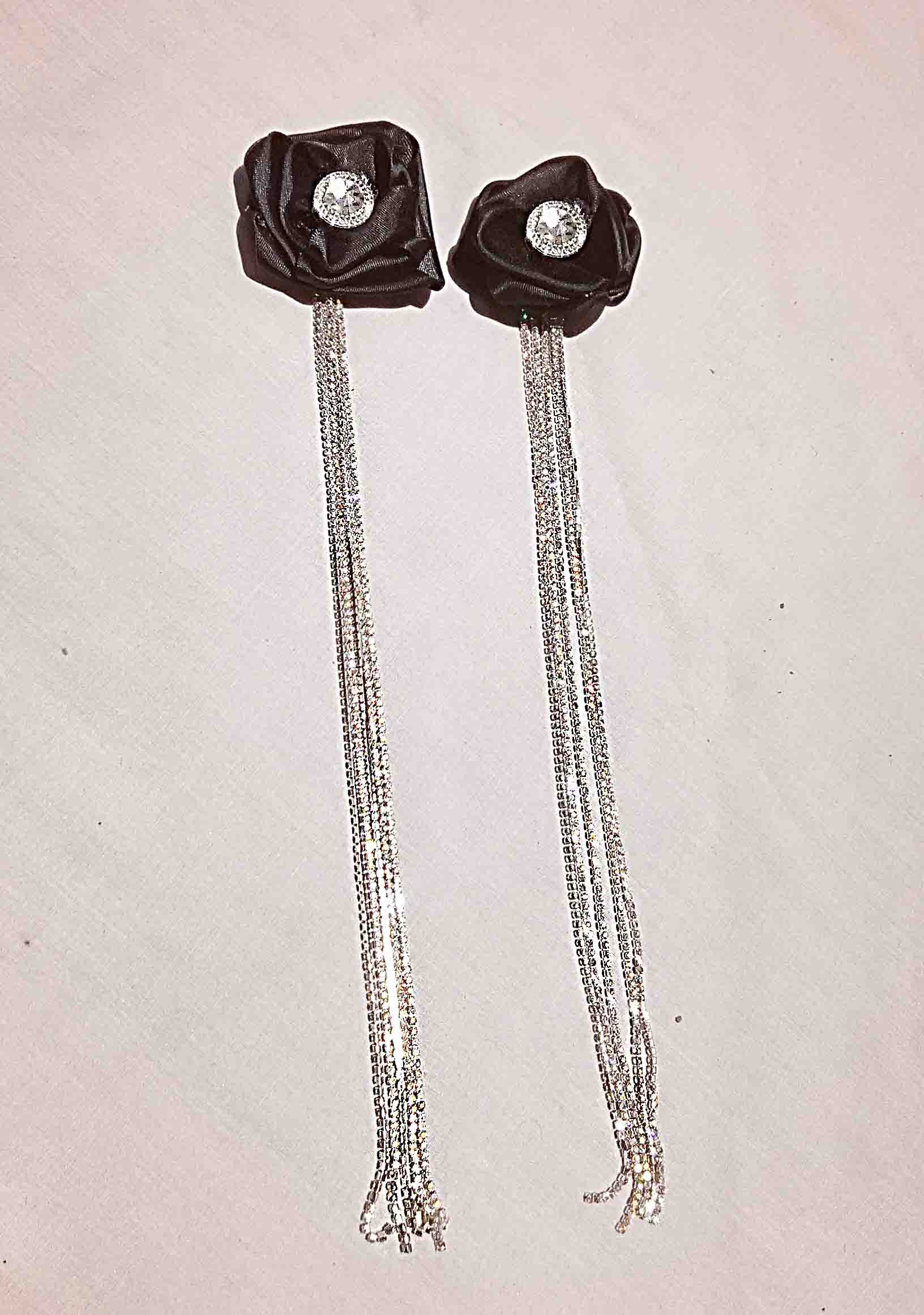 Black Rosette Earrings