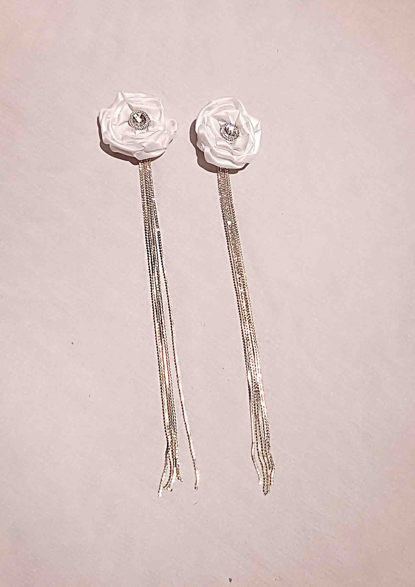 White Rosette Earrings