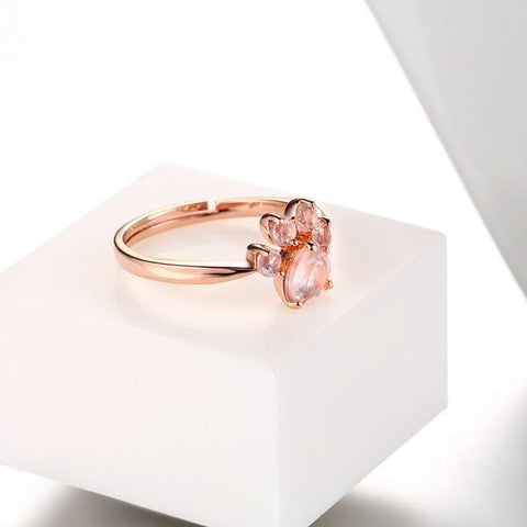Bague Empreinte de Patte en Quartz Rose