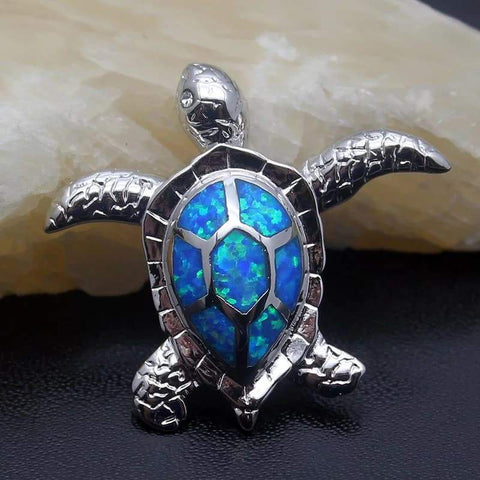 Collier Tortue Opale Bleue