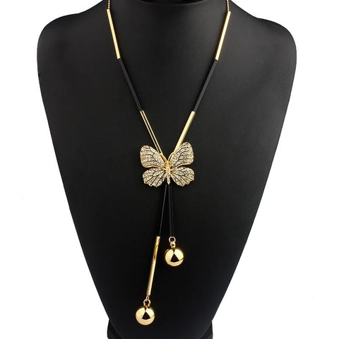 Collier Gland Papillon Perlé