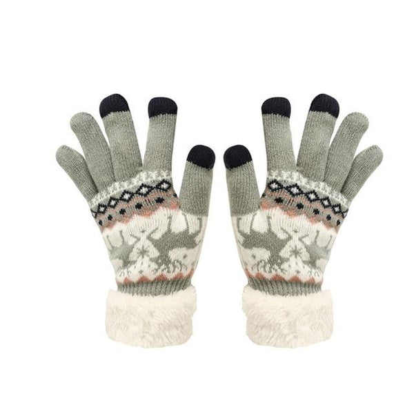 Winter Touch Screen Gloves Baby Kids Extra-warm Fleece Gloves Christmas Winter Wool Knitted Warm Gloves Unisex L1105 Royaume du Bijou Khaki