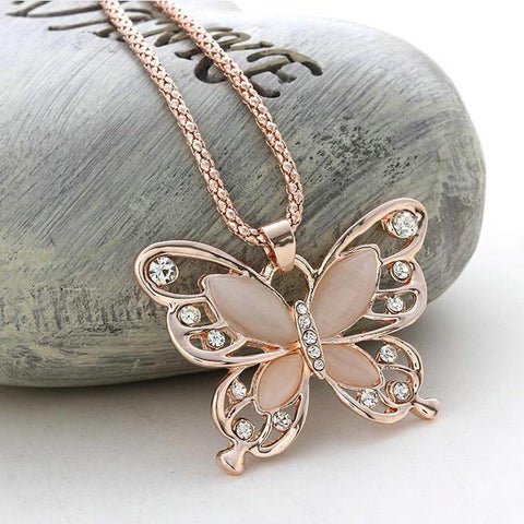 Collier Grand Papillon Rose et Cristal