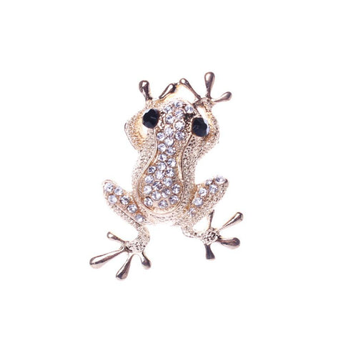 Broche Grenouille Dorée en Strass Brillants