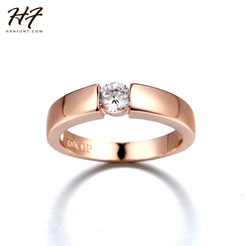 Rose Gold Color CZ Crystal High Polish Wedding Band Ring for Man and Woman R400 Royaume du Bijou