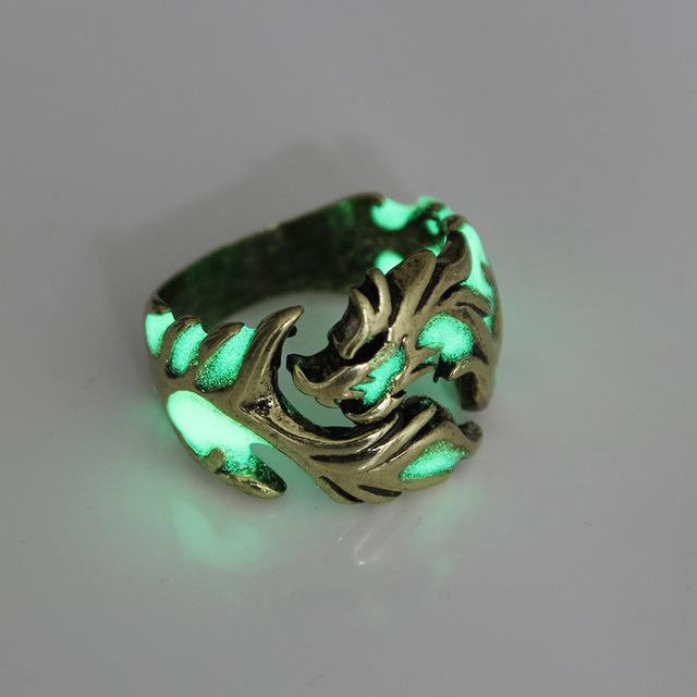 Bague Fluorescente Dragon Royaume du Bijou Redimensionnable Doré 1