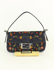 FENDI <br> Baguette Denim Beaded Shoulder Bag