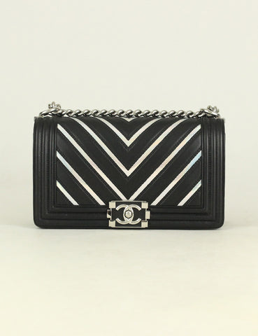 Chanel <br> Chevron Rainbow Medium Boy Flap Bag