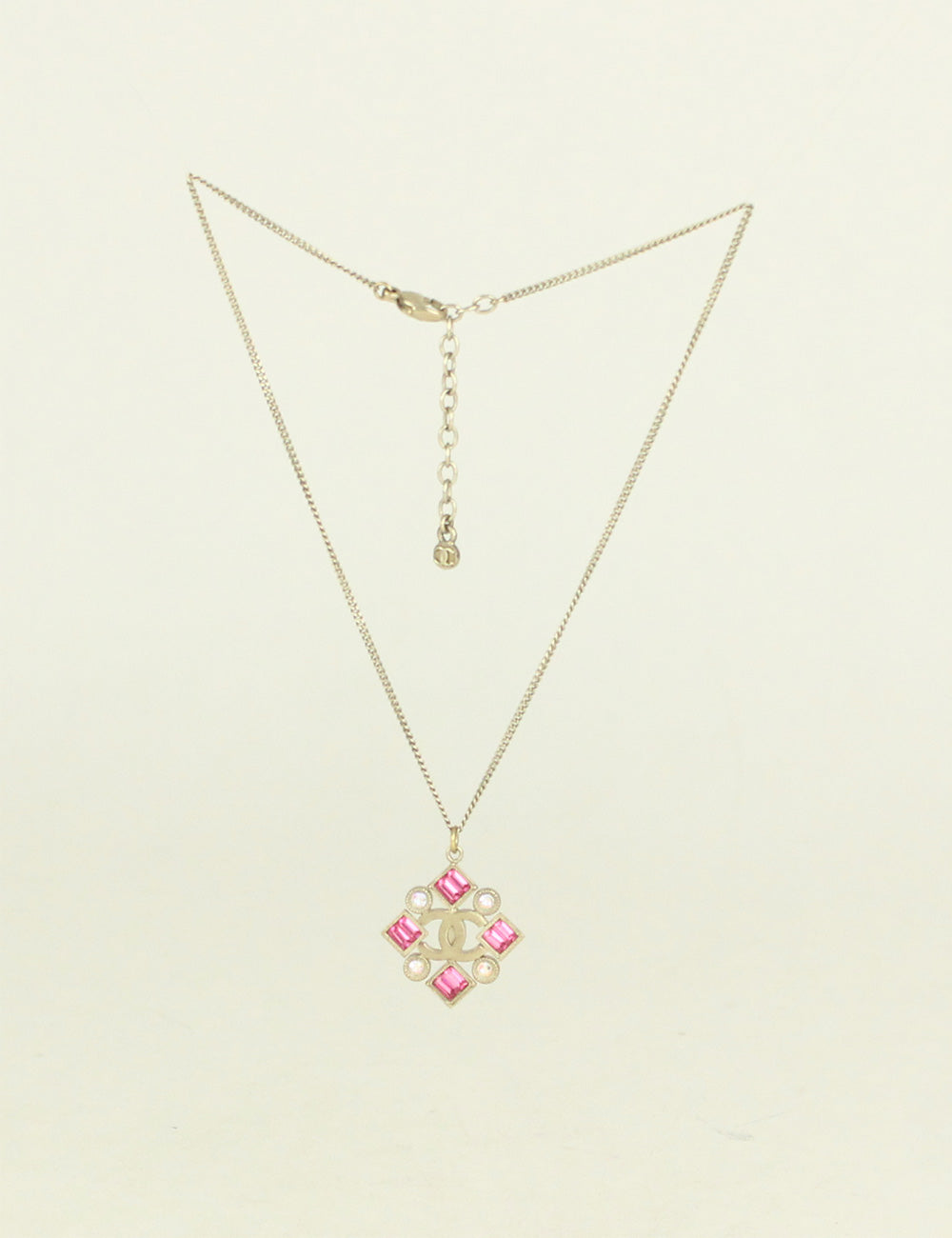Chanel <br> CC Logo Rhinestone Pendant Necklace
