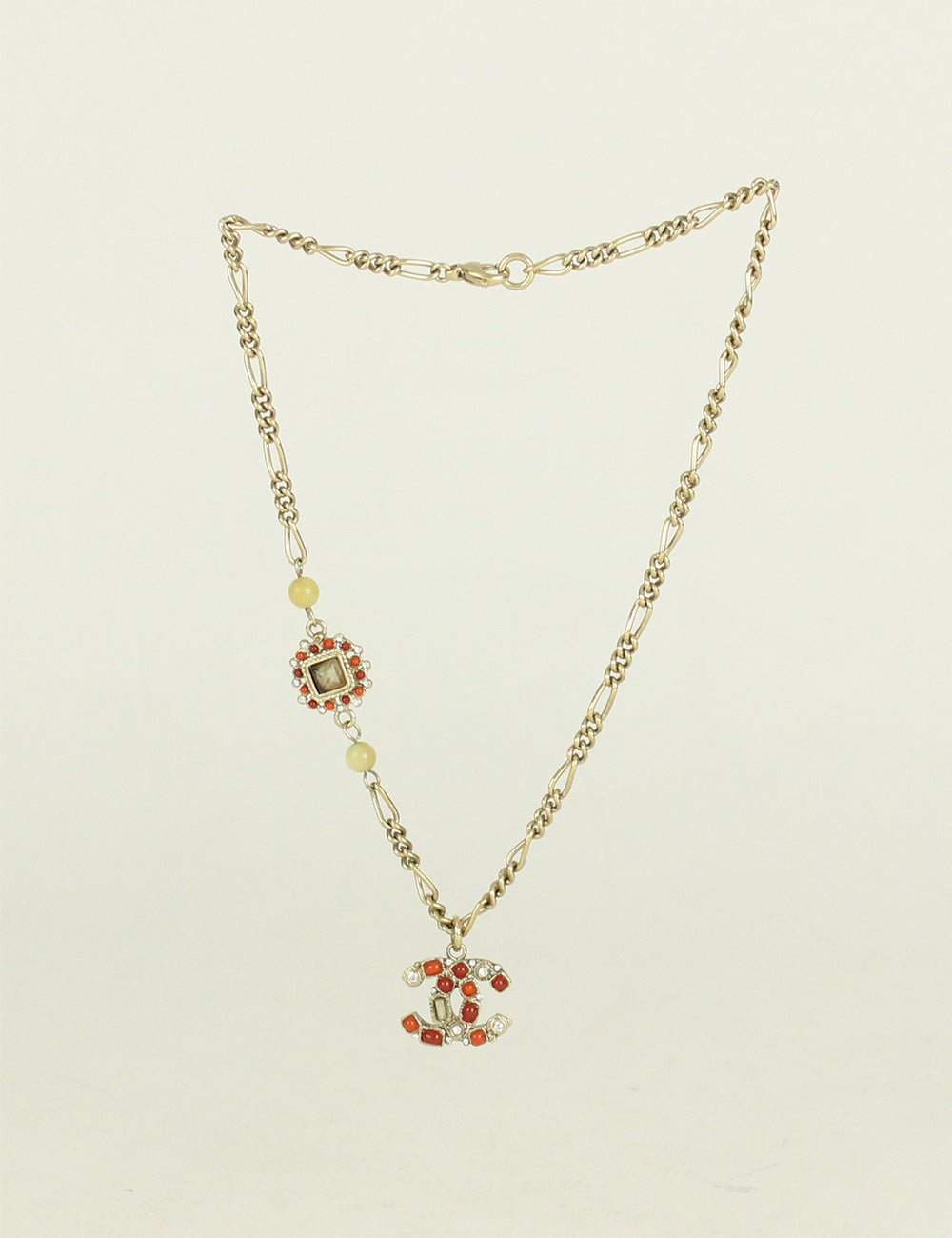 Chanel <br> CC Logo Crystal Beaded Rhinestone Pendant Necklace