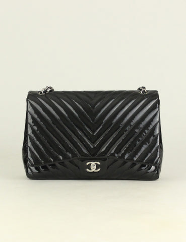 CHANEL <br> Chevron Quilted Maxi Single Flap Bag