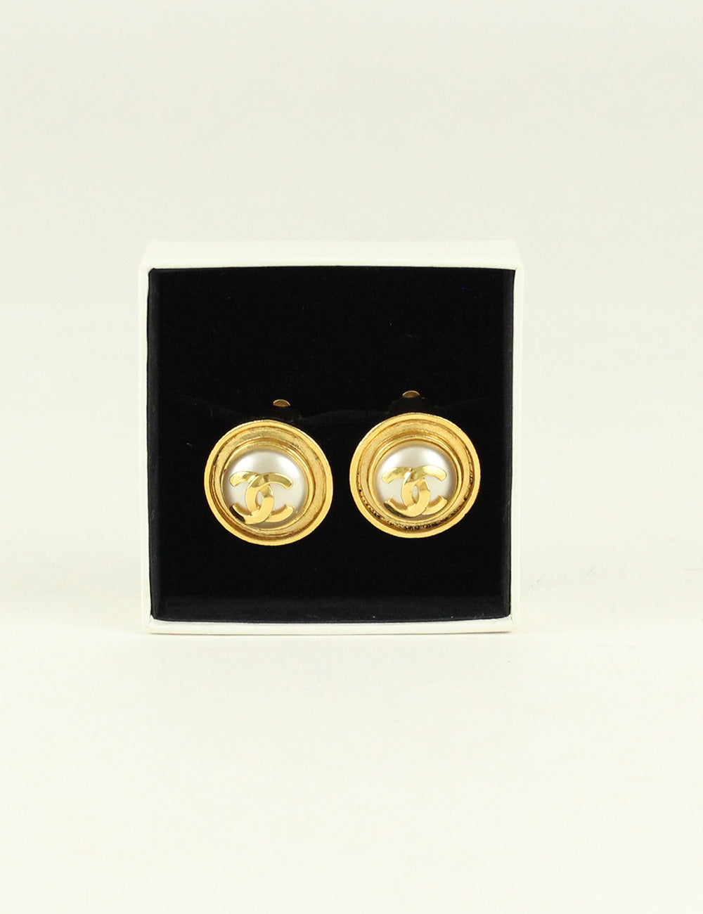 Chanel <br> Vintage Faux Pearl CC Logo Clip-On Earrings