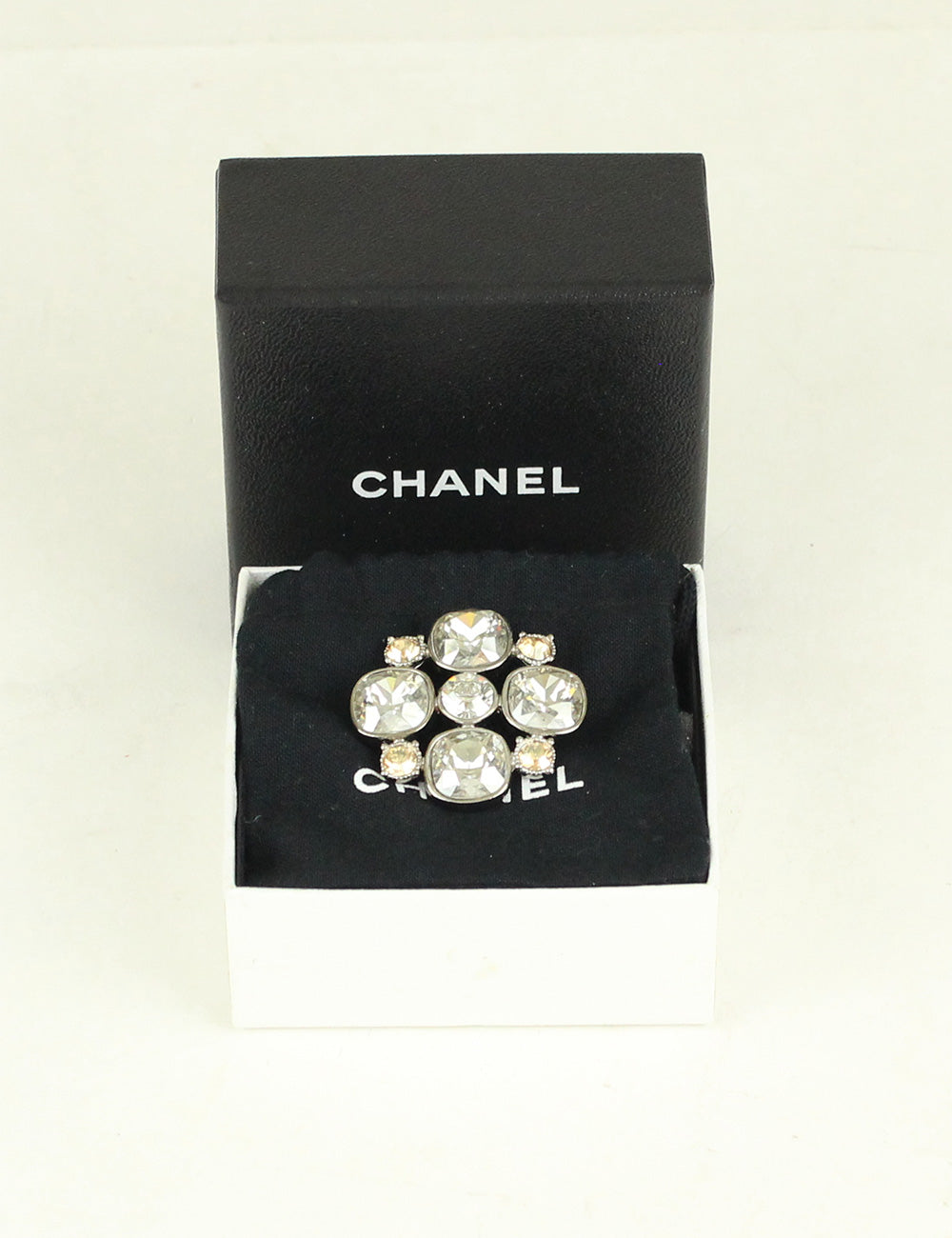 Chanel <br> CC Crystal Flower Pin Brooch