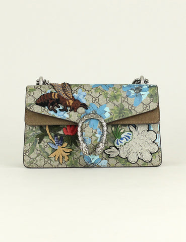 Gucci <br> Painted Flower and Patches Dionysus Small GG Shoulder Bag (Limited Edition)