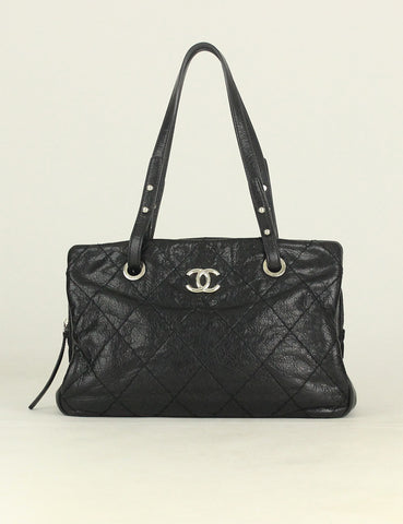 Chanel <br> Quilted Small On The Road Zip Tote Bag