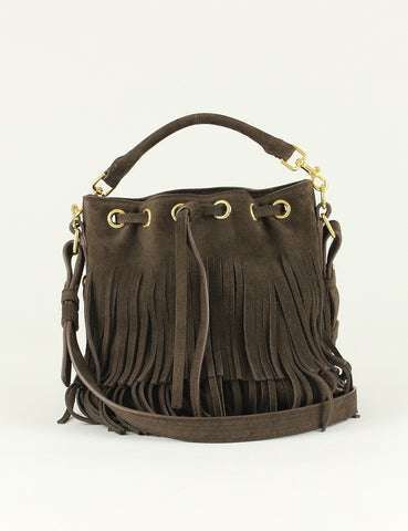 Yves Saint Laurent <br> Suede Fringe Bucket Bag