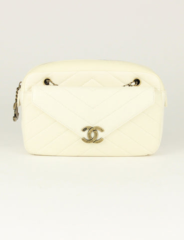 Chanel <br> Herringbone Quilted Medium Camera Case Bag