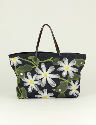 Fendi <br> Denim Flower Pattern Tote Bag
