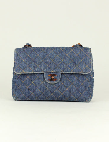 Chanel <br> Quilted Denim CC Logo Single Flap Bag
