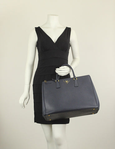 Prada <br> Saffiano Lux Double Zip Executive Tote Bag