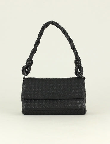 BOTTEGA VENETA <br> Braided Double Flap Shoulder Bag