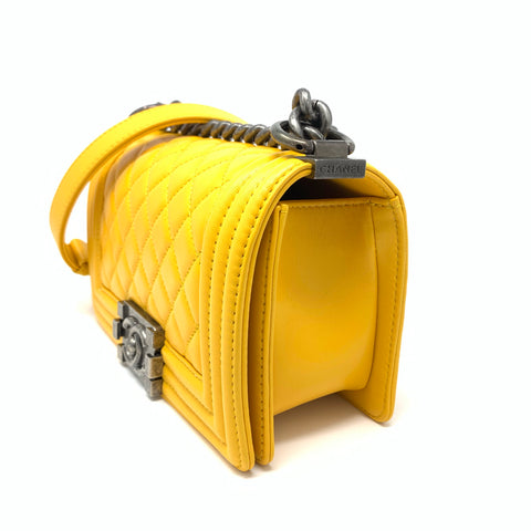 Chanel <br> Lambskin Quilted Small Boy Flap Bag Yellow