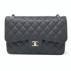 Chanel <br> Classic Caviar Black Quilted Jumbo Double Flap Bag