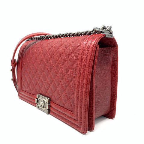 Chanel <br> Caviar Quilted New Medium Boy Bag Burgundy