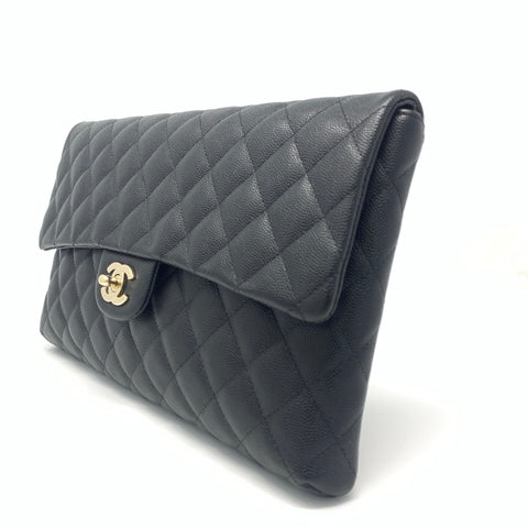 Chanel <br> Caviar Quilted Flap Clutch Bag Black