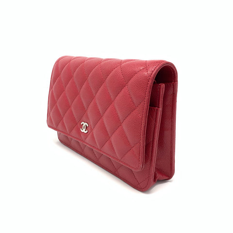 Chanel <br> Classic Caviar Quilted Wallet On Chain Bag Raspberry Red