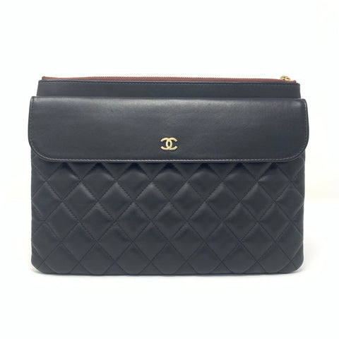 Chanel <br> Lambskin Quilted Medium Flap Clutch Bag Black