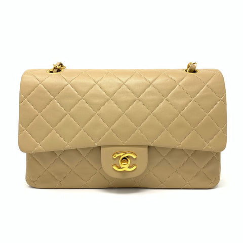 Chanel <br> Classic Lambskin Vintage Quilted Medium Double Flap Bag Beige