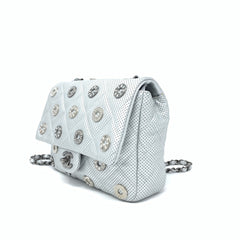 Chanel <br> Calfskin Quilted Perforated Metal Flap Bag Silver