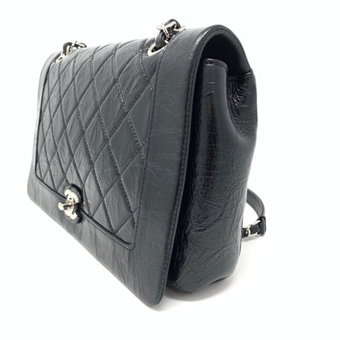 Chanel <br> Glazed Calfskin Quilted Flap Bag Black