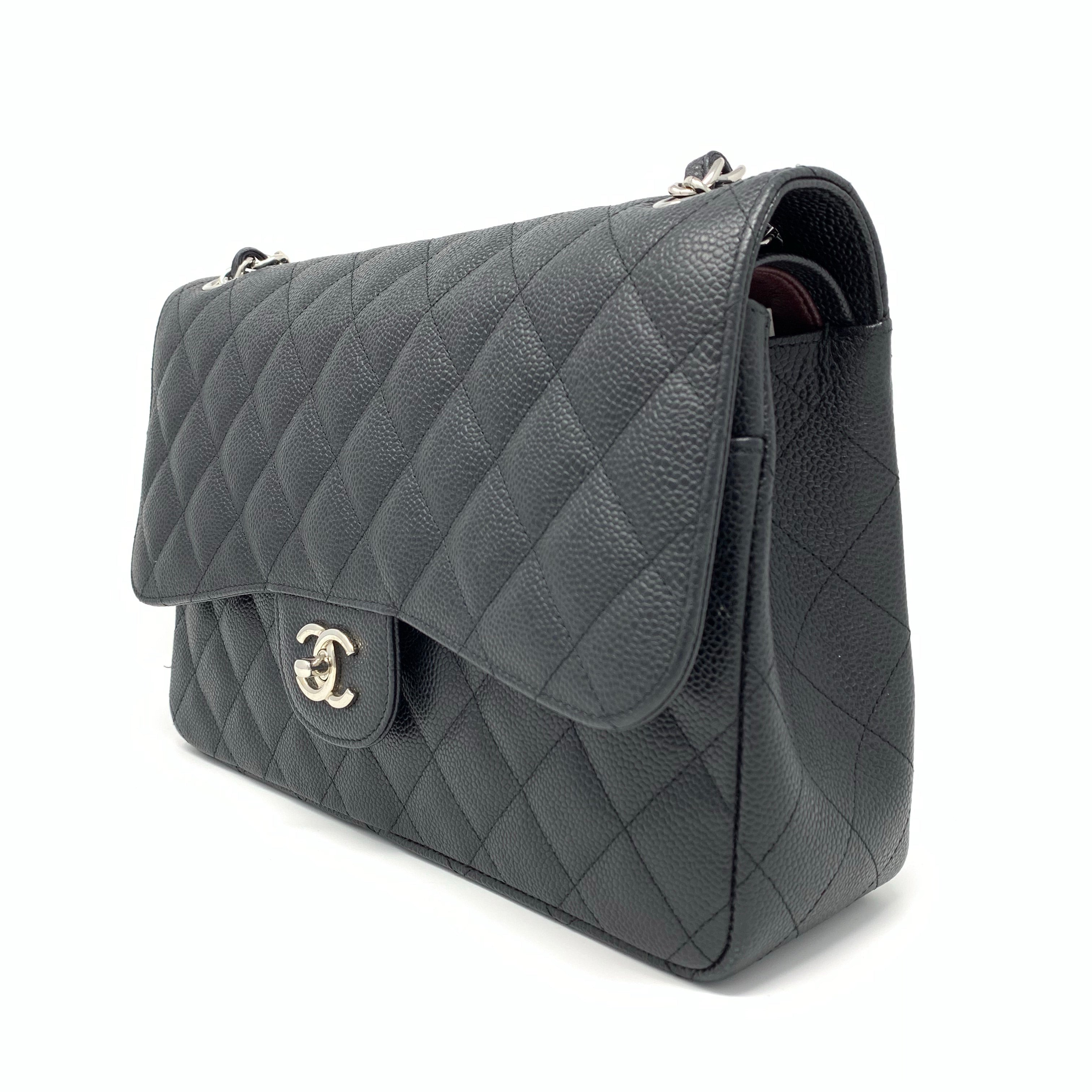 573cabc6380d63 Chanel Classic Caviar Black Quilted Jumbo Double Flap Bag – Brand ...