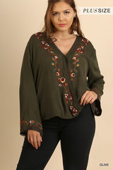 Embroidered V-Neck Top