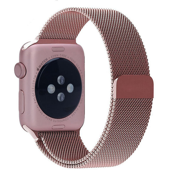 Touch Rage Milanese Loop, Magnetic Closure Clasp, for Series 1 and Series 2 Apple Watch,  Rose Red