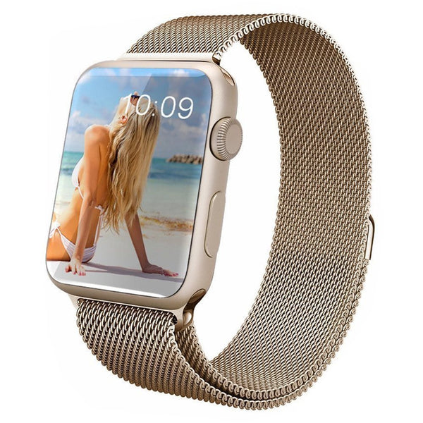 Touch Rage Milanese Loop, Magnetic Closure, for Series 1 and Series 2 Apple Watch,  Vintage Gold