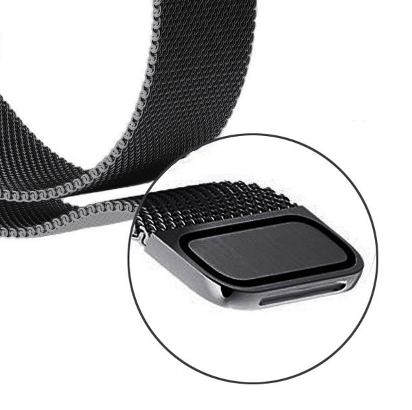 Touch Rage Milanese Loop, Magnetic Closure Clasp, for Series 1 and Series 2 Apple Watch, Black